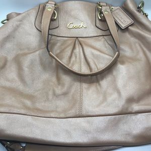 Coach Ashley Gold Leather Handbag F15513